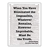 Eliminated the Impossible, Sherlock Holmes Quote, Sir Arthur Conan Doyle, Dictionary Page Art Photo Print, 8x10, Unframed