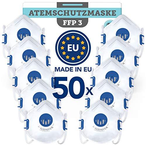 BEMS MEISTERWERK FFP3 MaskeWiederverwendbar(50 STK.)Made in EUCE zertifiziert (EN149:2001+A1:2009) – Premium Atemschutzmaske mit Ventil –
