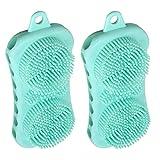 Milisten 2 Pzas Cepillo de Silicona para El Cuero Cabelludo Limpieza de Caspa Champú Masajeador de Cabeza para El Cuero Cabelludo Cepillo de Limpieza de Mano para La Ducha Verde