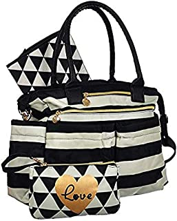 Diaper Bag Tote Purse with Crossbody Strap, Portable Changing Pad, & Matching Wristlet for Moms