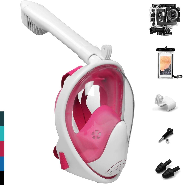 APICK Schnorchel Maske Tauchmaske Vollmaske 180° Sicht Anti-Fog Anti-Leck Mit Faltbare Atemschluche Abnehmbar Halter Action-Kamera Ohrstpsel,für Erwachsene Kinder