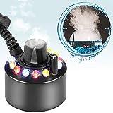 hygger Mist Maker with LED Light, Funny Fish Tank Accessories Decoration Mini Fogger for Reptile Terrarium Indoor Fountain Planted Tank Plastic Black