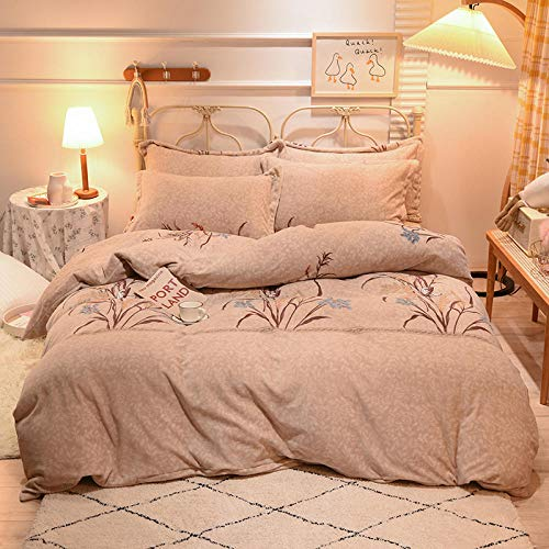 geek cook Bedding Set,Winter coral fleece bed four-piece warmth double-sided plus flannel milk flannel duvet cover sheet suede-rice_1.8m bed