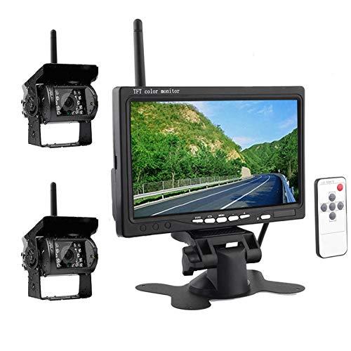 Wireless Car Backup Camera, Rear View Backup Camera for Cars, HD Dual Backup Cameras 7