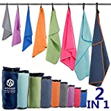 "Microfiber Sport Travel Towel Set-(XL -60""x30""+24"" x12)-Quick Dry, Absorbent, Ultra Compact Towels-Fit"