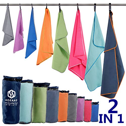 "HOEAAS 2 Pack Microfiber Travel & Sports&Beach Towel-L(48 x28""+24 x 12"")-Lightweight,Compact,Super Absorbent,Fast Dry for Outdoor, Yoga, Camping,Gym+Buckled Carry Bag(L, Dark Blue)"