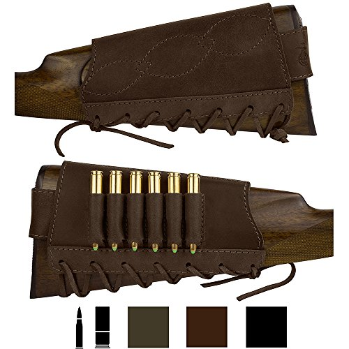 BRONZEDOG Adjustable Leather Buttstock Cartridge Ammo Holder for Rifles 12 16 Gauge or .30-30 .308 Caliber Hunting Ammo Pouch Bag Stock Right Handed Shotgun Shell Holder (Brown, 7.62 Caliber)