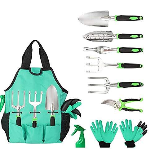 Gartenwerkzeug-Set und Tasche, Organizer mit 10 Gartenwerkzeugen, Gießkanne, Handschuh, Edelstahl, Werkzeug...