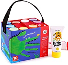 Jar Melo Finger Paint for Toddlers;Washable, Non Toxic,Kids Bath Paint Set, Safe Art Painting Supplies Gift for Kids,Babies, Assorted Colors (10 Colors)