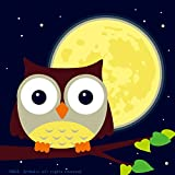 DIY Oil Painting, Paint by Number Kits for Kids - Owl and Yellow Moon 8'x8'