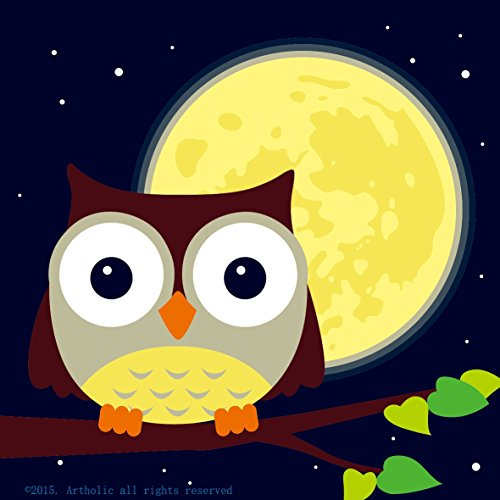 """Colour Talk DIY Oil Painting, Paint by Number Kits for Kids - Owl and Yellow Moon 8""""x8"""""""