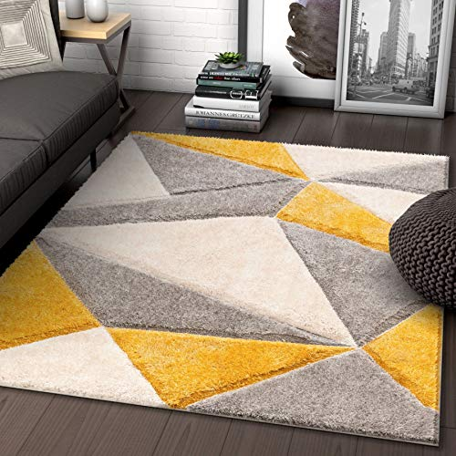 Well Woven Walker Yellow Triangle Boxes Thick Soft Plush 3D Textured Shag Area Rug 5x7 (5'3' x 7'3')