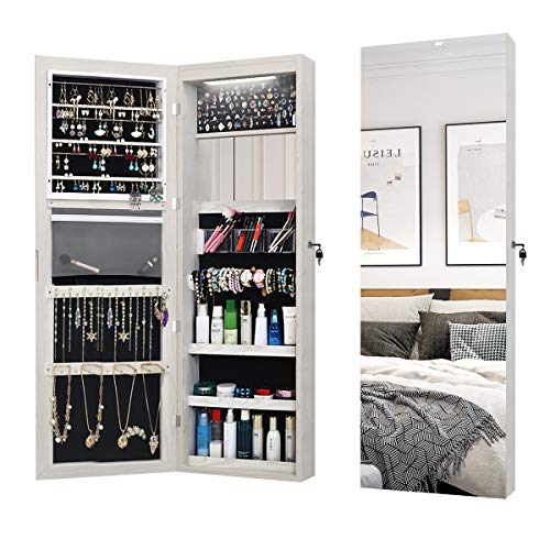 """FVANF Jewelry Cabinet with Mirror, Jewelry Armoire Organizer Wall Mounted, Cabinet Lockable with LED, Full Length Mirror, Hanging Mirror, Door Mounted, Larger Capacity (White 47.3""""x14.6"""")"""
