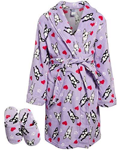 'Sleep & Co Big Girls Fleece Robe with Slippers Set (Lilac Bulldog, 5-6)'