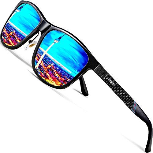 ATTCL Herren Polarisierte Fahren Sonnenbrille Al-Mg Metall Rahme Ultra Leicht 858-8 Blue