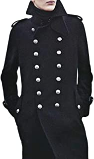 ONTBYB Men's Winter Pea Coat Long Sleeve Double Breasted Jacket Overcoat