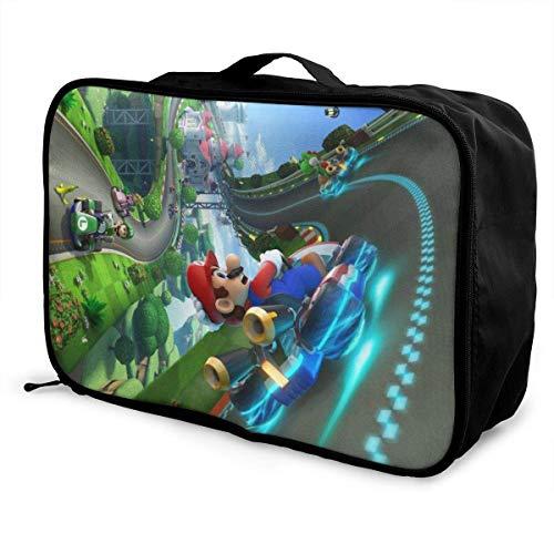 Mario Racing Tra Travel Lage Bolsa de viaje para mujeres hombres y niños, impermeable, gran capacidad de bapa ligera, bolsas portátiles