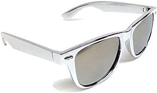 Silver Metallic Square Sunglasses Mirror Lenses