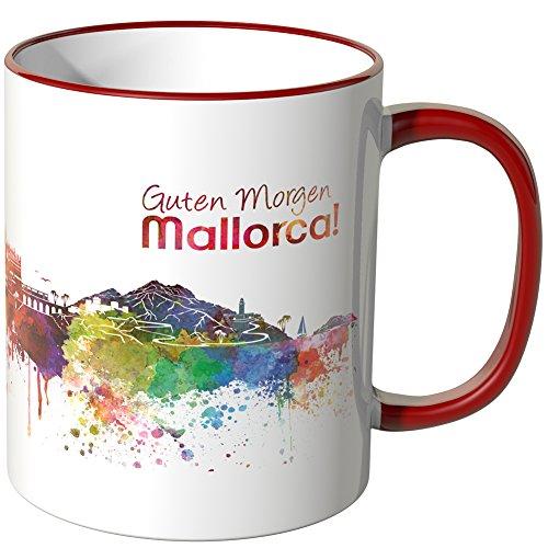 WANDKINGS® Tasse, Schriftzug Guten Morgen Mallorca! mit Skyline - ROT