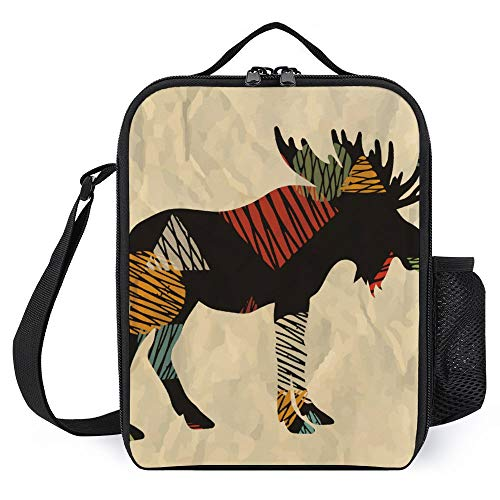 Insulated Lunch Bag for Women Men, Leakproof Thermal Reusable Lunch Box, Vintage Retro Moose Silhouette Theme Nursery Kids Room Decor Beige, Lunch Cooler Tote for Office Work Picnic
