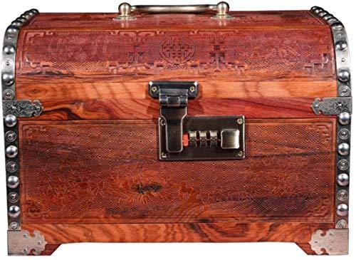 Caja de joyería grande rojo palisandro espejo caja decoración casero madera sólido joyería caja de joyería dormitorio caja de vestir retro joyería caj...