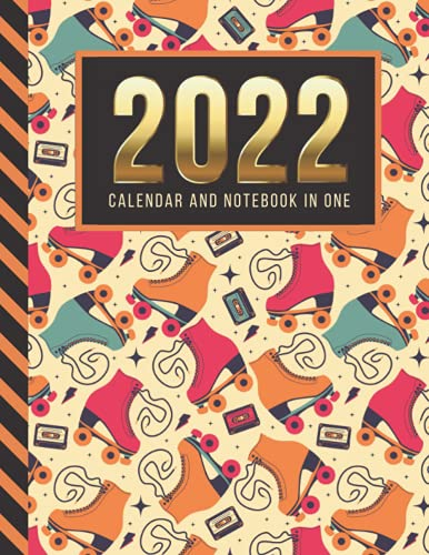 2022 Calendar and Notebook In One: 8.5x11 Monthly Planner with Note Paper Combo / Vintage Roller Skate Music Cassette Art Pattern / Large Organizer ... Ruled Lined Sheets / Life Organizing Gift