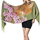 Preciosas ardillas y flores Moda para mujer Mantón largo Invierno Cálido Bufanda grande Bufanda de cachemira