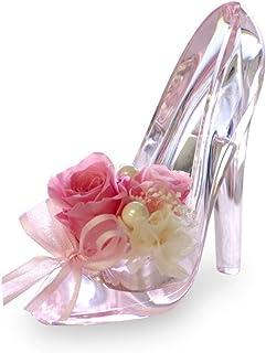 プリザーブドフラワー IPFA ガラスの靴 シンデレラ [プレゼント] ギフト/花/結婚記念日/誕生日/バラ (ピンク×ピンクヒール)