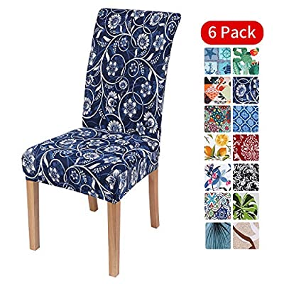 smiry Stretch Printed Dining Chair Covers, Spandex Removable Washable Dining Chair Protector Slipcovers for Home, Kitchen, Party, Restaurant - Set of 6, Navy Floral