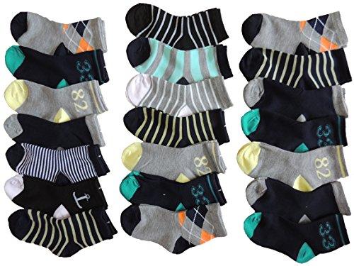 Pesail 10 Stück Jungen Sneaker Socken Größe 28-35 (32-35)