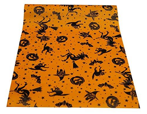 khevga tafelband tafelloper rol Halloween satijn oranje zwart 36 cm x 9 m heks