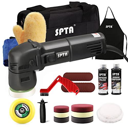 SPTA Poliermaschine, 9mm 750W Exzenter Poliermaschine Polierer mit Geschwindigkeit 2500-5500RPM, 80mm Polierteller,Polierschwamm,Polierpad, Seitengriff, zum Polieren von Auto, Möbeln-HDA780S3DE