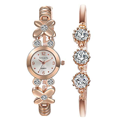 Souarts Women Wrist Watch with Bracelet Rhinestone Quartz Watch Bracelet Set Rose Gold Color Watch Gift Sets for Women
