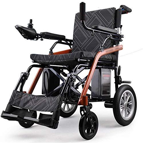 GJNWRQCY Elektrische rolstoel, inklapbare magnesiumlegering, inklapbaar, voor volwassenen, dubbele stoel, 6 AH lithium batterij