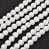 Giada Malese Perline Bianco Tondo 6mm Filo di 62+