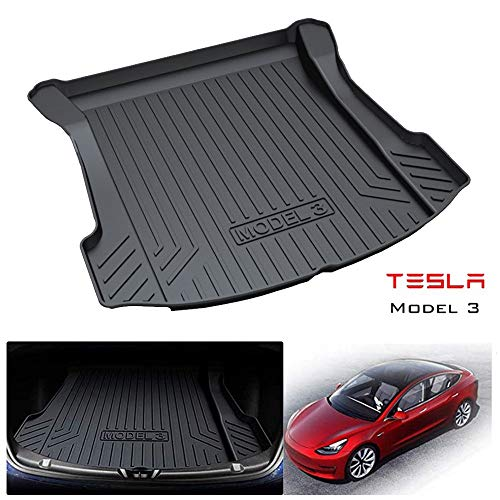 Gomma resistente Tappetino Bagagliaio Protezione per Tesla Modello 3 / Model 3, protezione impermeabile per tutte le stagioni Tappeto impermeabile, materiale ecologico e non tossico