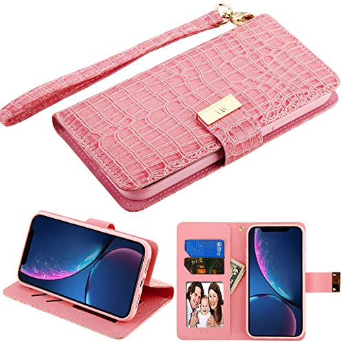 Case+Tempered_Glass+Stylus, PU Leather Purse Clutch Fits Apple iPhone XR / 9 MYBAT Pink Crocodile-Embossed MyJacket Wallet