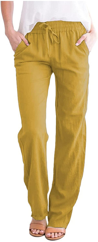 ZAKIO Women's Cotton Linen Yoga Pants Relaxed Fit Drawstring Elastic Waist Pants Lounge Straight Trouser Plus Size