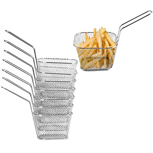 Mini Cestas para Patatas Fritas 8 Unidades Cestas de Acero Inoxidable,Cesta de Servicio para Patatas Fritas,Aros de Cebolla, Gambas