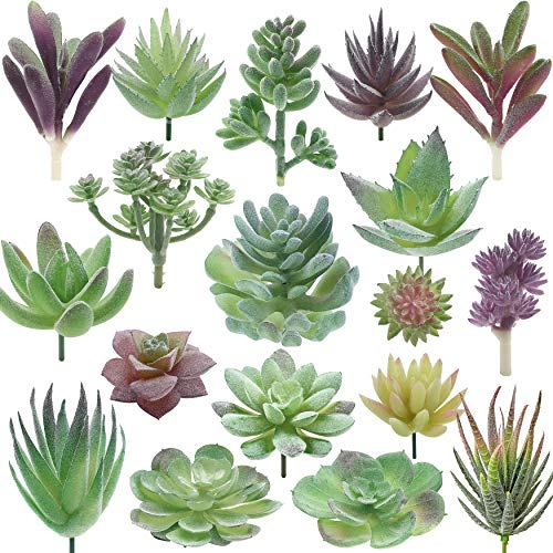 Miltonson Artificial Succulent Plants - 18 Pack - Premium Fake Plants - Double Flocked Succulents - Realistic Textured Cactus - Face Succulent Plants - Mini Feaux Succulent Plants - Face Plant Decor