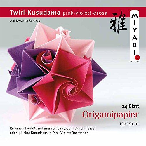 Origamipapier Faltblätter, KB-TK-13, Twirl-Kusudama pink-violett