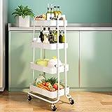 SAYZH 4 Tier Rolling Cart Metal Craft Storage Organizer with Wheels White