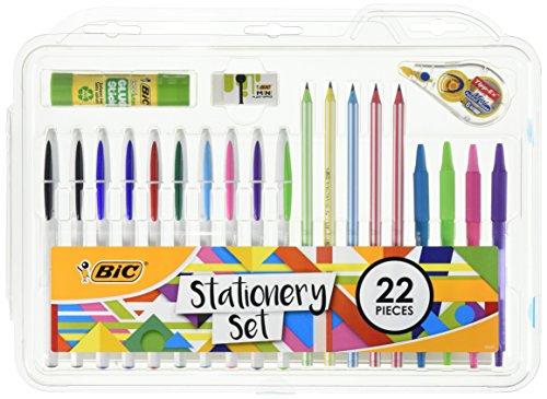 BIC 961543set cancelleria colla stick/Mini Eraser/correttore a nastro/HB grafite matita/penna a sfera (confezione da 22)