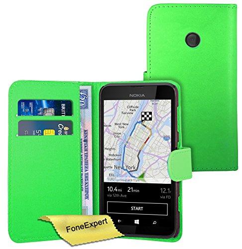 FoneExpert® Nokia Lumia 530 Hülle Wallet Hülle Flip Cover Hüllen Schutzhülle Etui Ledertasche Lederhülle Premium Schutzhülle für Nokia Lumia 530 + Bildschirmschutzfolie (Grün)