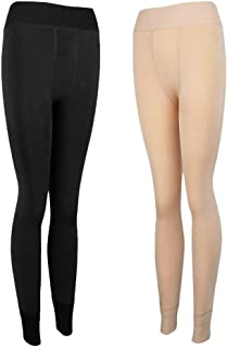 IPOTCH 2x Damen Strumpfhose blickdicht Winterstrumpfhose Thermostrumpfhose Leggings, Hautfarbe  Schwarz