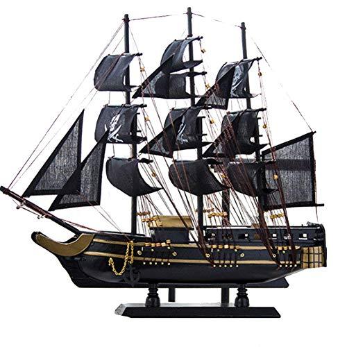 FFCVTDXIA Modelo de navegación de Madera Modelo de navegación Vintage Estilo mediterráneo a Mano mediterránea Barco de Pirata Negro para decoración de la habitación, 45 cm x 46 cm zhihao