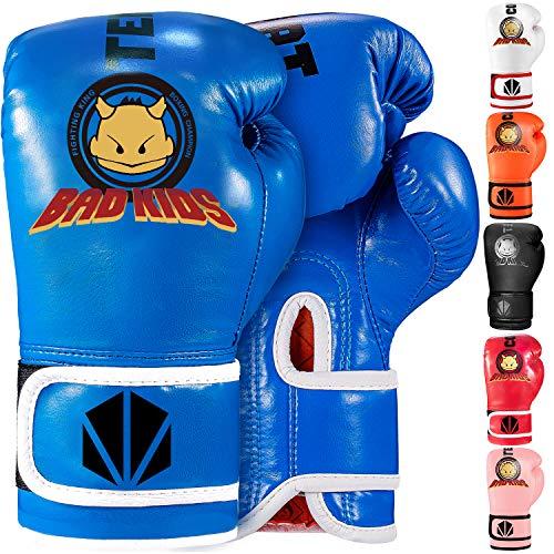 TEKXYZ Kinder Boxhandschuhe Bad Kids Serie Blau 4 OZ -Kunstleder Kinder Boxtrainingshandschuhe mit lebendiger Farbe für Jungen und Mädchen im Alter von 3 bis 12 Jahren