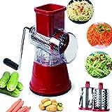 Accessori per la cucina affettatrice manuale per verdure Affettatrici rotonde multifunzionali per affettati da cucina (Red)
