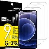 NEW'C 3 Unidades, Protector de Pantalla para iPhone 12 Mini (5.4'), Antiarañazos, Antihuellas, Sin Burbujas, Dureza 9H, 0.33 mm Ultra Transparente, Vidrio Templado Ultra Resistente