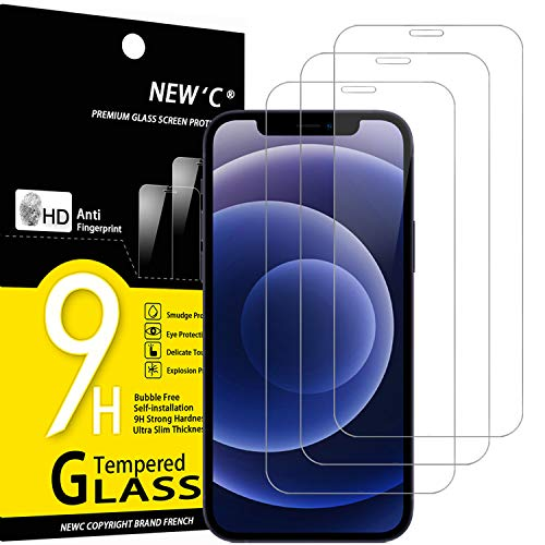 "NEW'C 3 Unidades, Protector de Pantalla para iPhone 12 Mini (5.4""), Antiarañazos, Antihuellas, Sin Burbujas, Dureza 9H, 0.33 mm Ultra Transparente, Vidrio Templado Ultra Resistente"